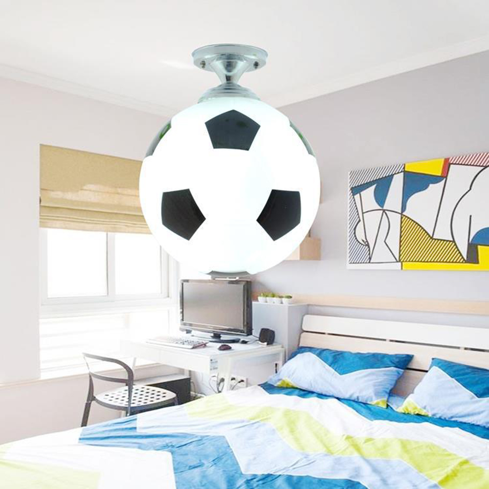 LED Ceiling Lamp Glassmodern Minimalist Color Basketball Football Chandelier Boys Children Bedroom Cartoon Bulb Lamp Energy Save