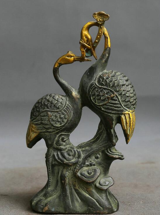 Collection Chinese Brass Carved Conjugal Lover Animal Red-Crowned Crane Bird Glossy Ganoderma Exquisite Statues