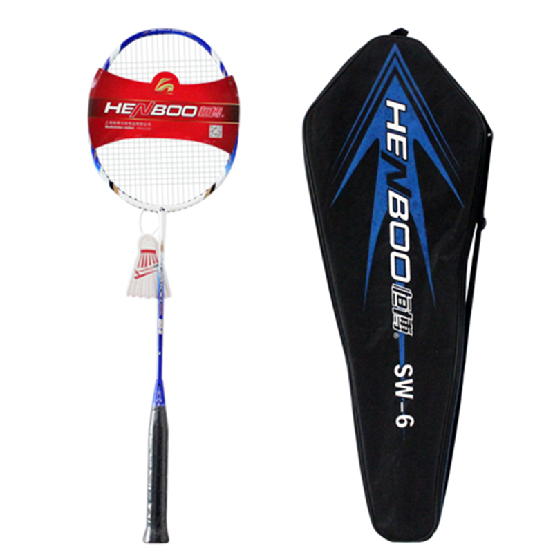 HENBOO Lightweight Badminton Set 300g Full Carbon Fiber Training Badminton Racket And Bag Standard Durable Sports Equipment SW-6