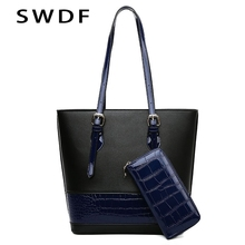 SWDF Leather Handbag Big Women Bag High Quality Casual Female Bags Shoulder Bags Lady Tote Bag Two-piece Set Purses And Handbags цена 2017