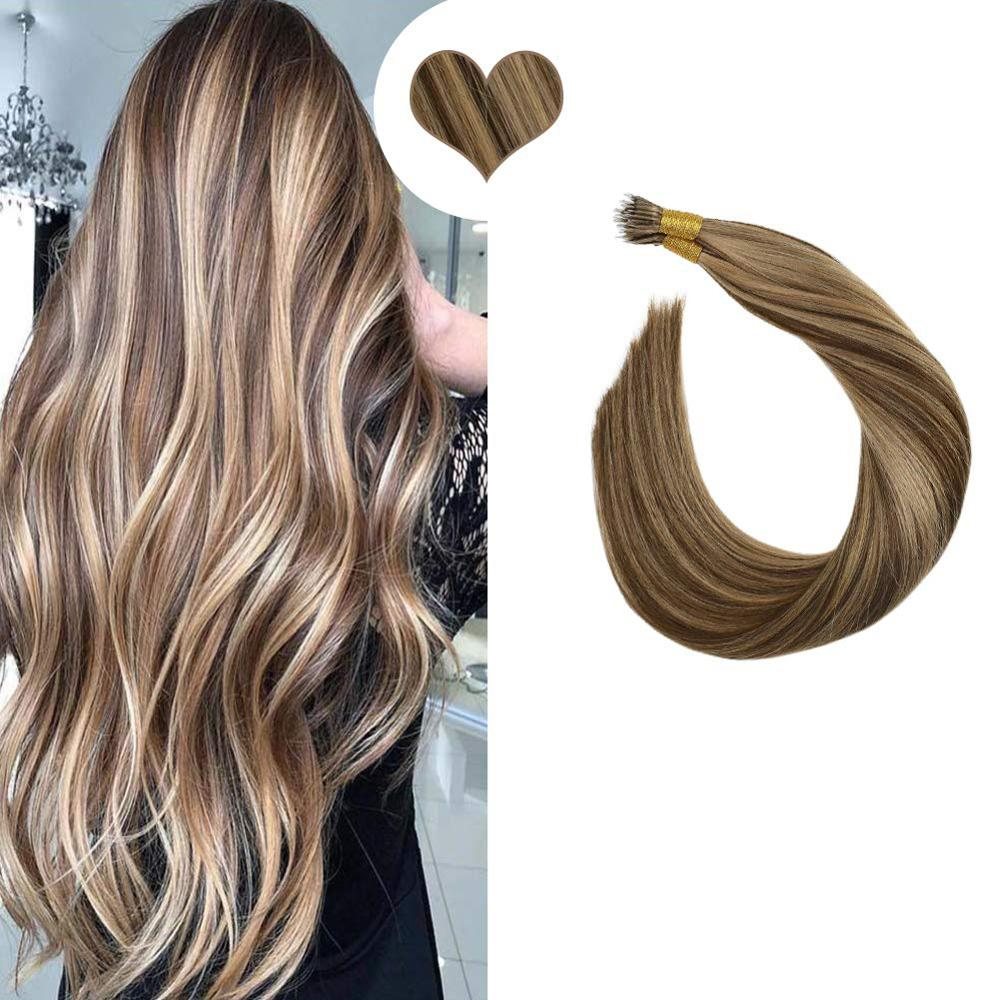 "Fusion Keratin Bond Hair Extensions 14-24"" Nano Ring Hair Straight Brazilian Hair Micro Bead Extensions Non-Remy Hair 50S/50G"