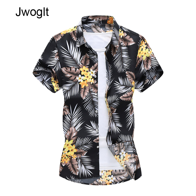 45KG-120KG New Fashion Men's Short Sleeve Tropical Plant Print Shirts Male Summer Casual Turn Down Male Blouse Tops 5XL 6XL 7XL