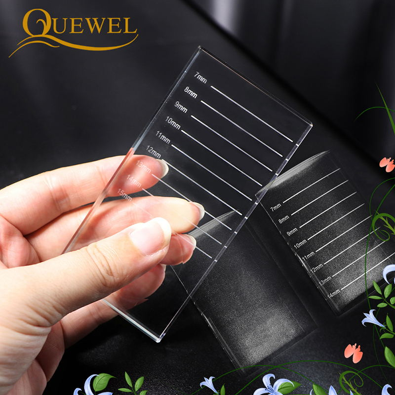 Quewel Eyelash Pallet Crystal Glass U Curved/Straight Stand Pad False Eyelashes Holder Transparent Glue Tray Beauty Makeup Tool