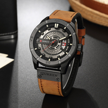 купить CURREN Luxury Brand Men Military Sport Watches Men's Quartz Clock Leather Strap Waterproof Date Wristwatch  Relogio Masculino по цене 1350.82 рублей