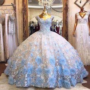 Светильник небесно-Голубое Бальное платье Бальные платья бисер 3D цветы с открытыми плечами торжественное платье для выпускного вечера сла...