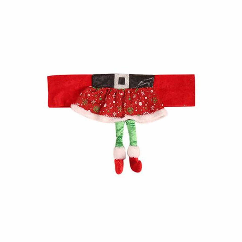 椅子カバークリスマス装飾不織布エルフチェアセットスツールセットホームダイニング宴会家デ長椅子アームチェアの Slipcovers # D