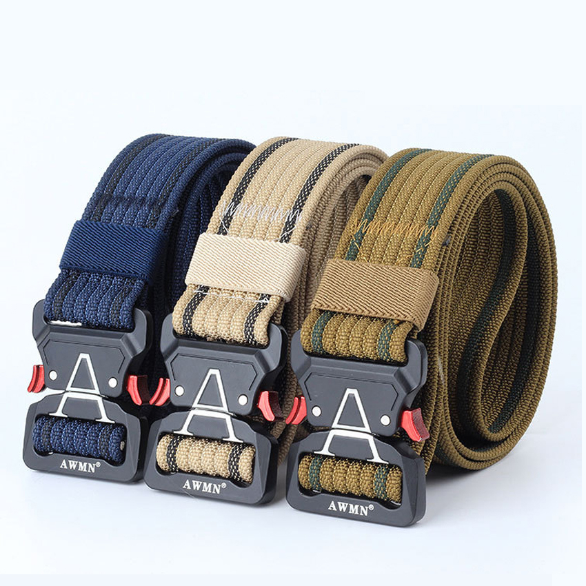 8 Color Military Canvas Belt Man For Jeans Pants Long Metal Buckle Thicken Nylon Army Belt Black Tactical Men Waist Belt Hunting