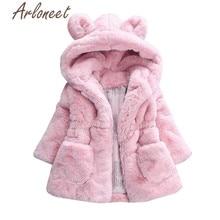 ARLONEET/пальто с героями мультфильмов теплое зимнее плотное пальто для маленьких девочек хлопковая верхняя одежда с капюшоном и заячьими ушками плащ, милое детское пальто Одежда для девочек
