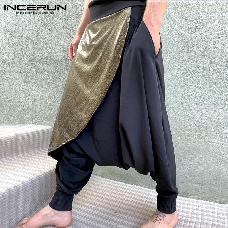 INCERUN Men Pants Streetwear Patchwork Joggers Elastic Waist 2020 Loose Drop-crotch Trousers Men Leisure Harem Pants Plus Size