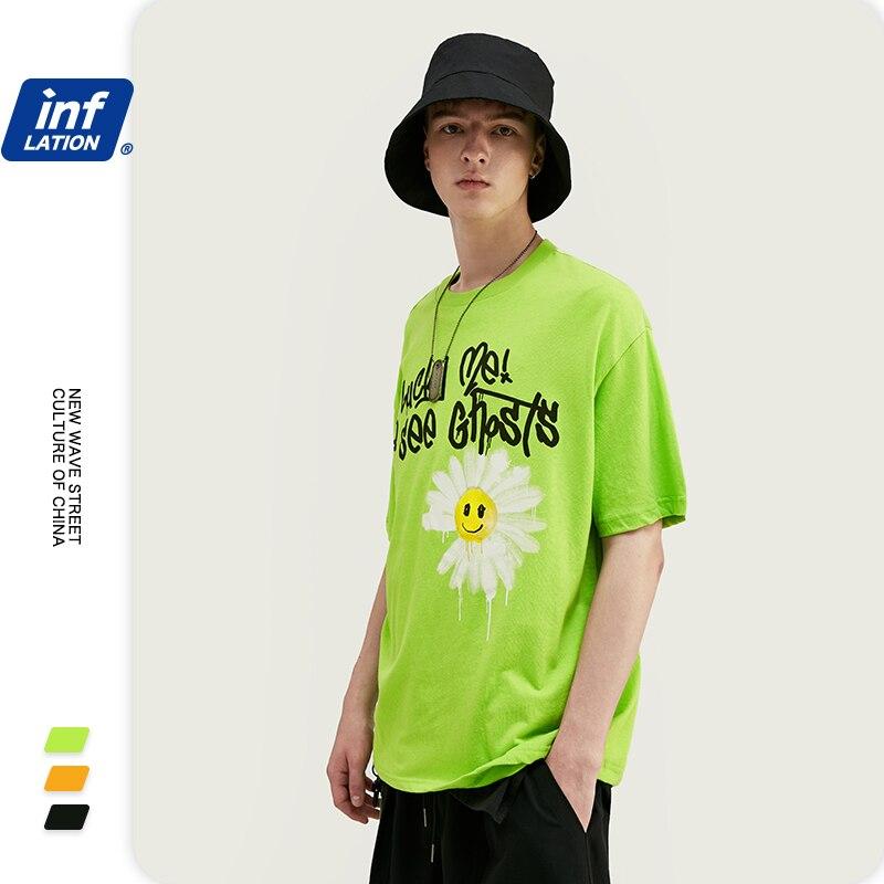 INFLATION 2020 NEW Harajuku Men's T-shirt 100% Cotton T-shirt Letter Printing Men Summer T-shirt Casual Loose Fashion Tee1139S20