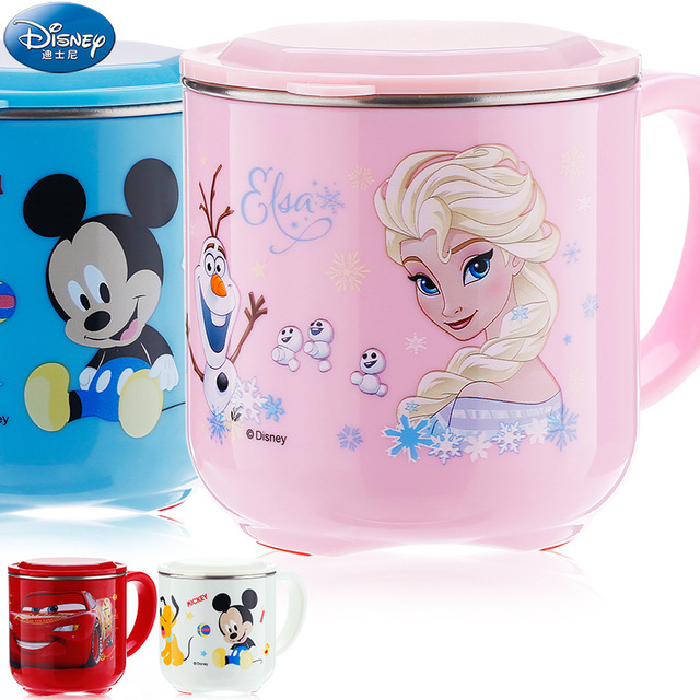 Disney 250ML Baby Kids Milk Cup Cartoon Creative Drink Water Cups Baby Training Learn Drinkware Juice Cup Stainless Steel Mugs