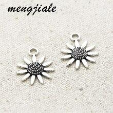 18 pçs antigo tom de prata girassol encantos liga metal flor pingentes para diy jóias acessórios fazendo 23*19mm