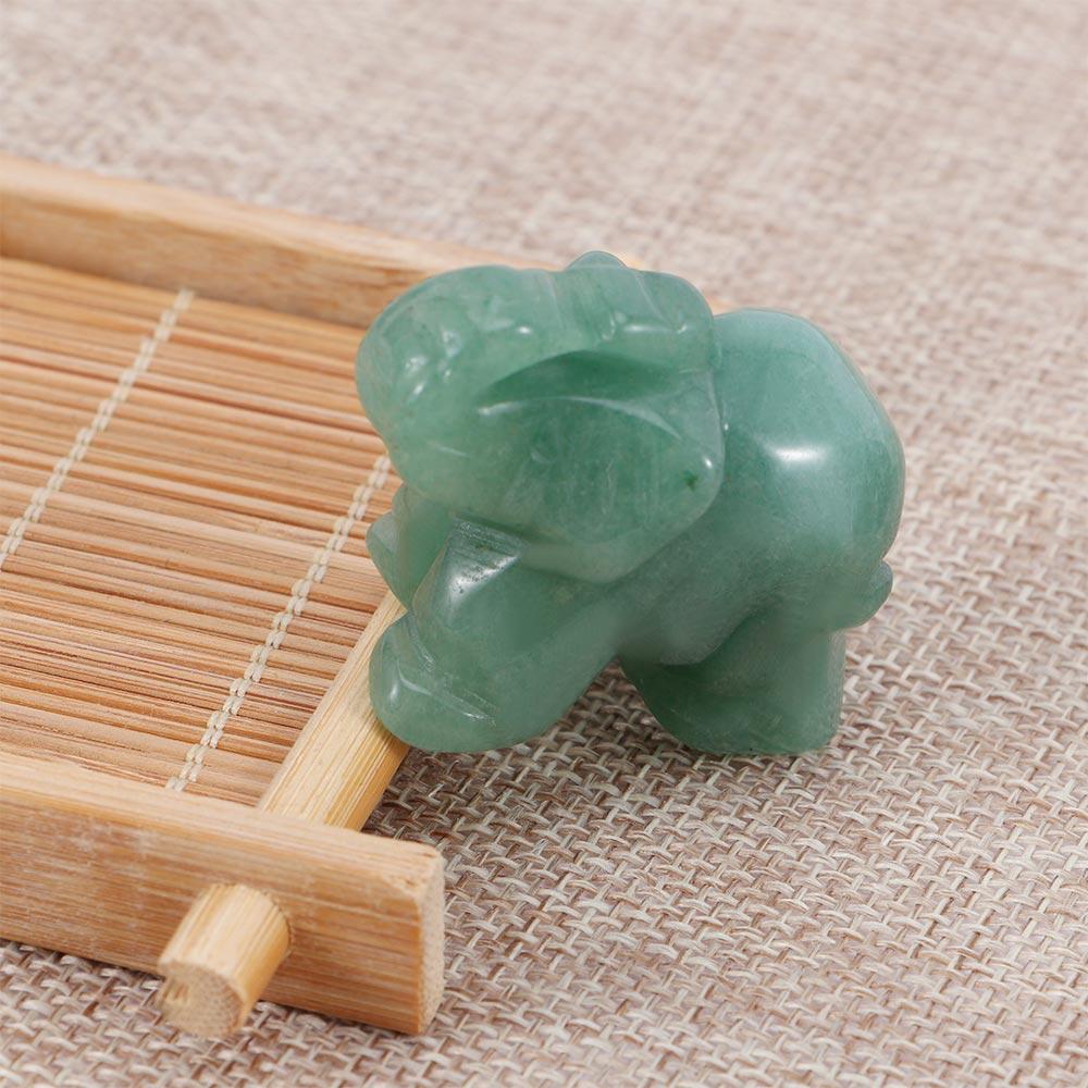 Lucky Elephant Fortune Green Aventurine Jade Stone Feng Shui Statue Figurine Office Ornament Chakra Healing Stones Statue Decor