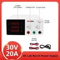 110V 220V EU 4 Digits DC Lab Power Supply 30V 20A Adjustable LED Digital Bench Switching Voltage Regulators Bench Power Source