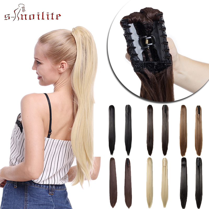 S-noilite One Piece Claw Ponytail Synthetic Hair Clip In Hair Extension Long Straight Drawstring Ponytail Fake Hair For Women