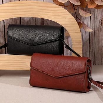 Vintage Genuine Leather Women Shoulder Flap Bag Cowhide Simple Thread Handbags Fashion Ladies Messenger Crossbody Clutch Bag