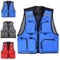 Photographie gilet toile randonnée veste vent bouclier/dissipateur de chaleur pêche gilet multi-poches en plein air pêche gilet