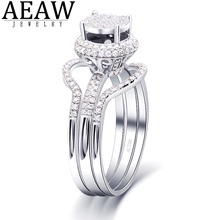 Real 18K White Gold Unique Moissanite Engagment Ring Set for Women DEF Color VVS1 Test Positive Certificated  Halo Ring transgems 7 5mm 7 5mm 2carat deep blue color cushion cut moissanite bead test positive as real diamond 1 piece