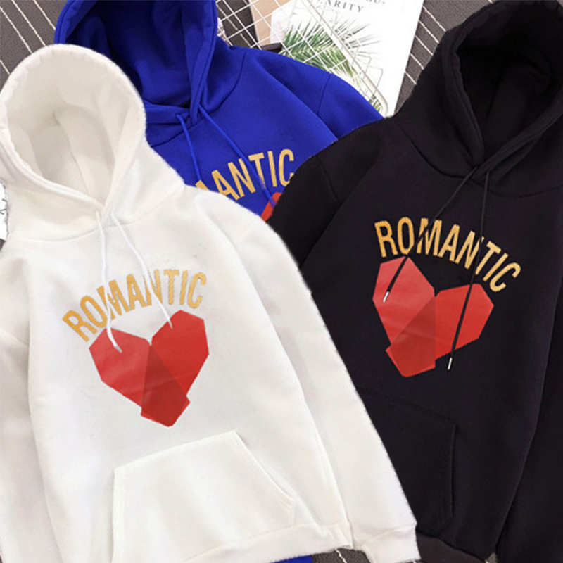 Love heart romantic print joker hoodie Autumn Winter Harajuku Oversized Fashion Warm sweatshirt Hot Sale hip hop Couple clothes