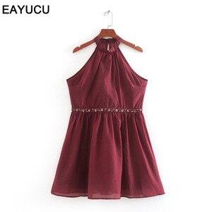 EAYUCU Rhinestones Mesh Summer Short Dress For Women Wine Red Sexy Halter Strapless Ziper Female Party Dreses Vestidos ED191(China)