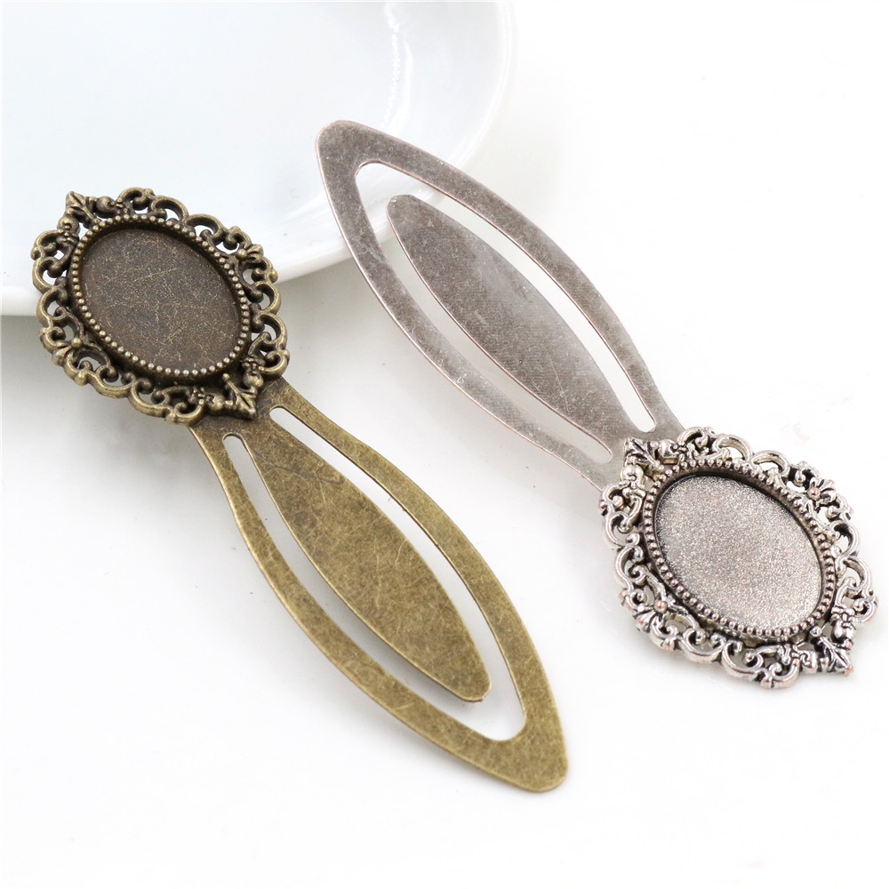 New Fashion 2pcs 13x18mm Inner Size Antique Silver Plated And Bronze Simple Style Handmade Bookmark Cabochon Base  Cameo Setting