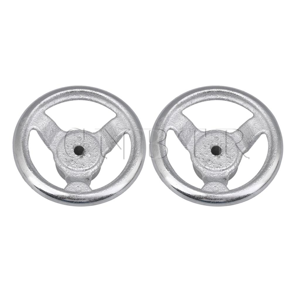 CNBTR 2pcs Three Spoke Silver Industrial Round Iron Hand Wheel 3.5