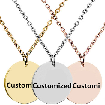 Custom Made Photo Medallions Pendant Custom Engraving Name Love Logo Info Coin Necklaces for Women Man with Stainless Steel