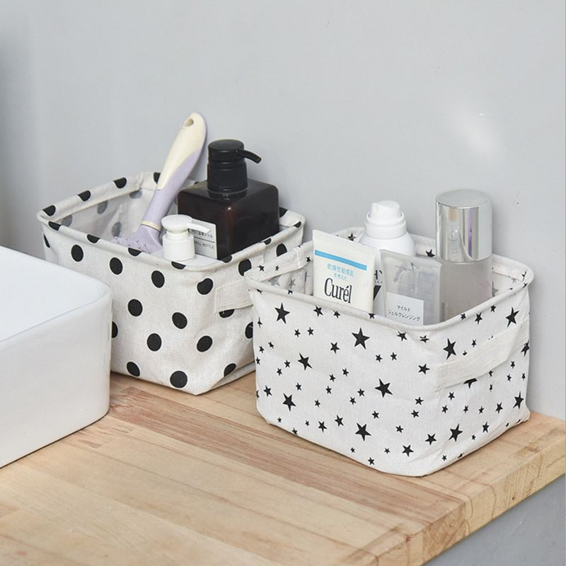 High Quality Cotton Linen Desktop Storage Basket Sundries Storage Box With Handle Linen Desk Makeup Organizer 20.5x13x16cm