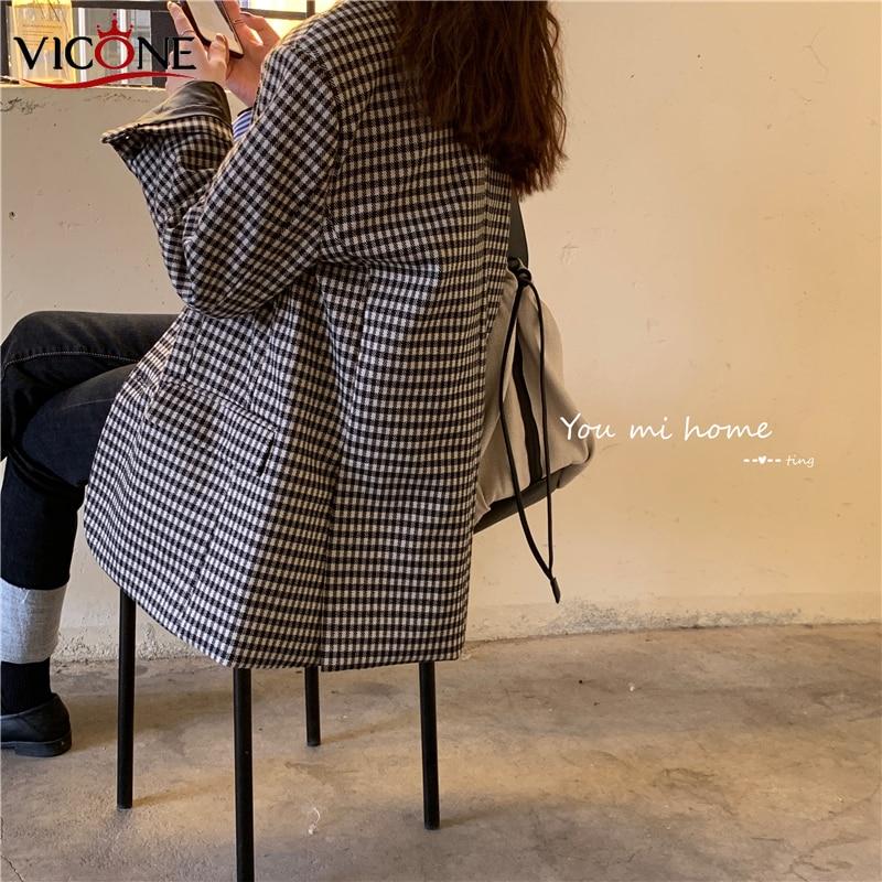 VICONE Vintage Double Breasted Office Ladies Plaid Blazer Long Sleeve Suit Coat Jacket Women Blazers Female