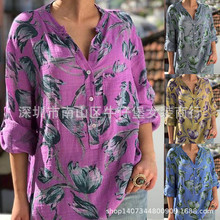 2019 autumn and winter new V-neck button ladies blouse printed shirt top