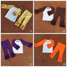 купить baby Girls Monogrammed icing Ruffle Raglan Sleeved Shirts with ruffle pants set по цене 942.45 рублей