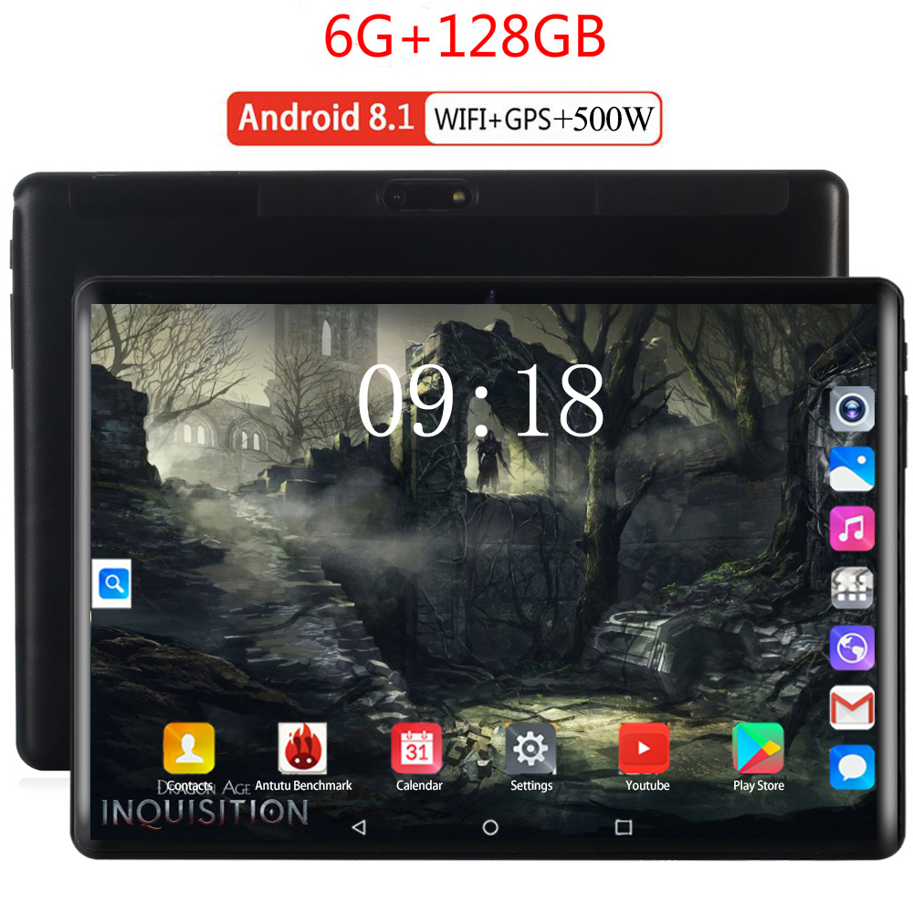 6G+128GB Tempered Glass 2.5D 10 Inch Tablet PC Android 8.0 6GB RAM 128GB ROM 1280*800 IPS 3G 4G LTE Horn Loud Tablet 10 10.1
