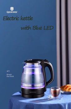 цена на Electric Water Kettle Glass Double Wall Cordless with Blue LED Light, 1 L Tea Kettle, Fast Water Boiler, Automatic Shutof