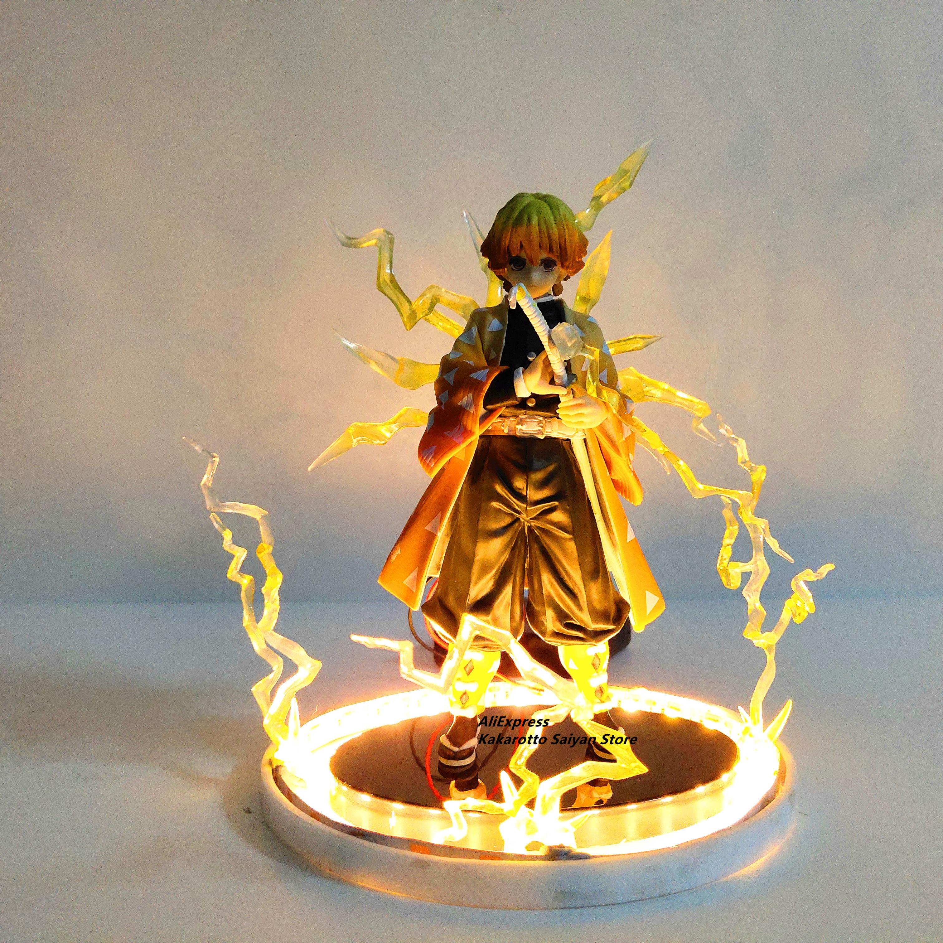 Demon Slayer Agatsuma Zenitsu PVC Action Figures Thunderclap And Flash Effect Anime Kimetsu No Yaiba Figurine Model Toys