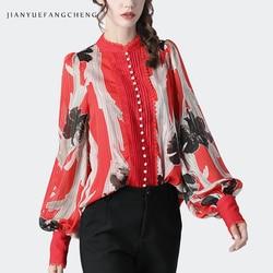 Модная женская шифоновая блузка с цветочным принтом свободного размера плюс, рукав-фонарик, жемчуг, расшитый бисером, весна 2020, Женские топы...