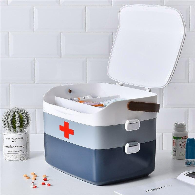Kit de primeiros socorros caixa de medicina recipiente plástico kit de emergência portátil 3 camada grande capacidade armazenamento organizador