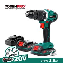 Electric Drill Brushless Cordless Drill 20V 1/2'' All Metal Chuck Cordless Drill Driver Battery 13MM Drill Keyless POSENPRO