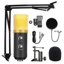 Microfono A Condensatore Usb Microfono Kit Studio Karaoke Mic per Pc 3.5 millimetri Wire con Filtro Pop Youtube Registrazione Canto Microfono