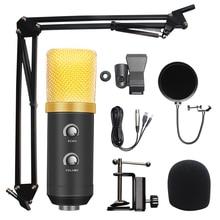 Mikrofon USB mikrofon kondensujący zestaw Studio mikrofon Karaoke dla Pc 3.5mm drut z filtr pop Youtube nagrywania śpiew mikrofon