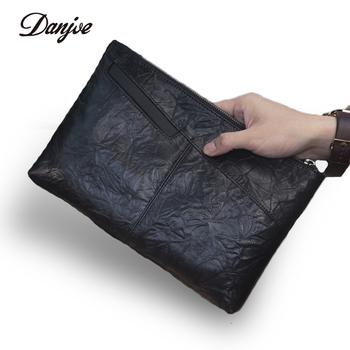 DANJUE Mens Genuine Leather Envelope Clutch Bag Men Large Real Leather Soild Black Fashion Big Men Handbag Small Clutch Bags
