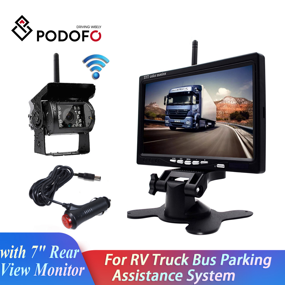 Podofo Wireless Backup Cameras IR Night Vision Waterproof with 7inch Rear View Monitor for RV Truck Bus Parking Assistance System