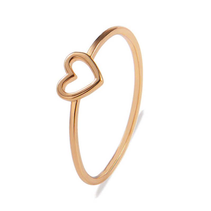 ใหม่ 1PC คู่แหวนหัวใจ Hollow OUT เจ้าสาว Golden Silvery แหวนสตรีขนาด 6 7 8 9 10 วาเลนไทน์ของขวัญอุปกรณ์เสริม
