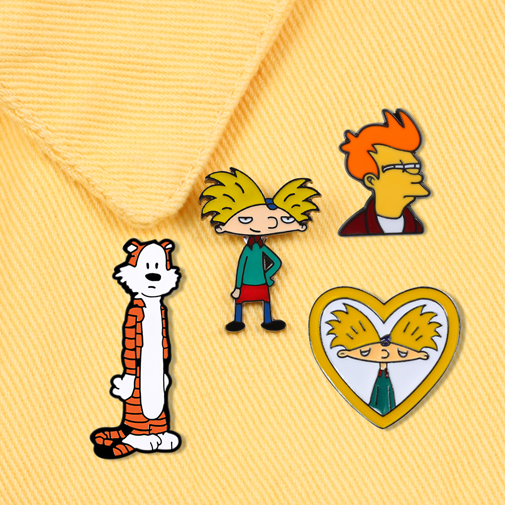 Comics Cartoon Tiger Cool Boy Arnold Brooches Love Heart Colorful Enamel Pins Backpack Denim Metal Badge Fashion Jewelry for Kid