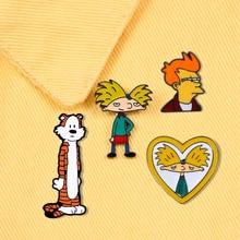 Комиксы мультфильм тигр крутой мальчик Арнольд Броши Любовь Сердце Красочные эмалированные булавки рюкзак деним металлический значок модные ювелирные изделия для детей