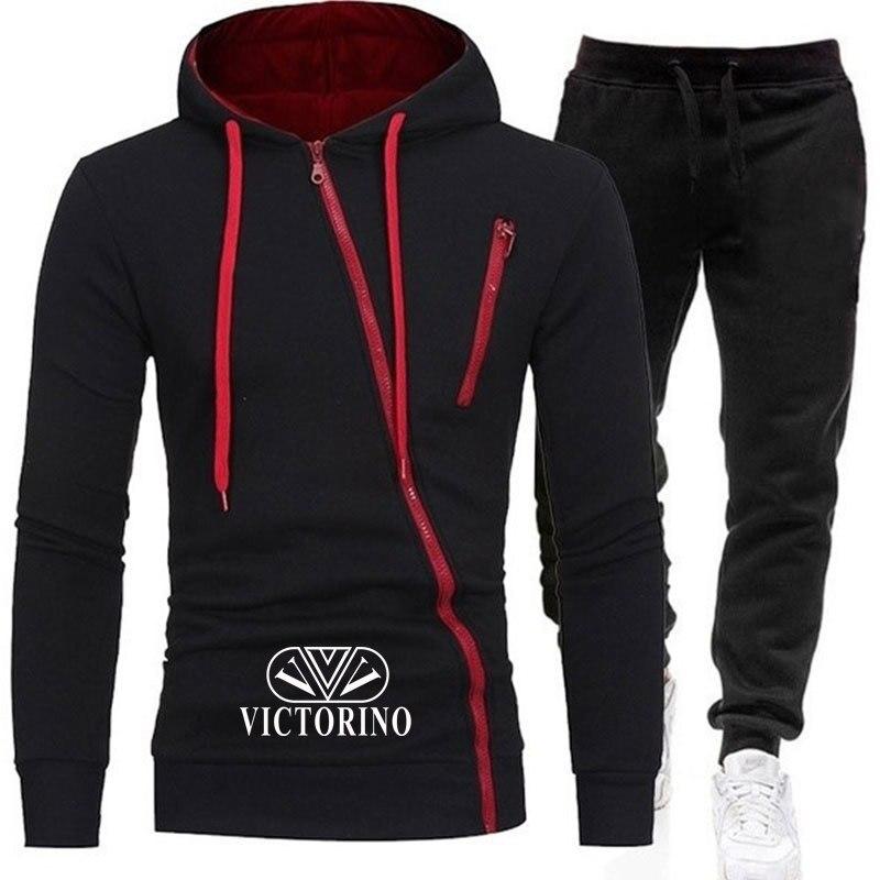 Men's 2020 Jersey Sets Casual Hoodies  Thick Fleece Thermal Underwear Men's Sports Pants Hoodie Suits Running Sports Pants 2 Pcs