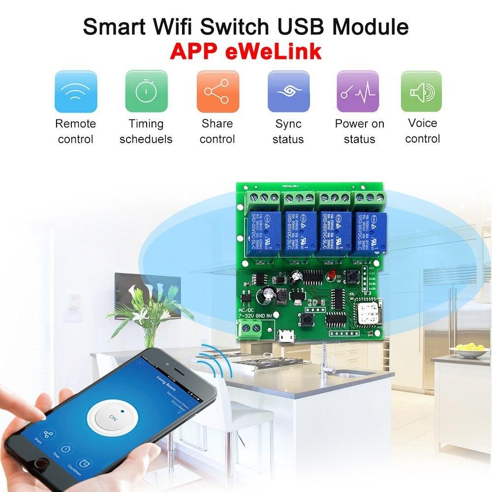 DC 5V 7-32V 4 Channel WiFi Wireless Relay Switch Control Module APP Control