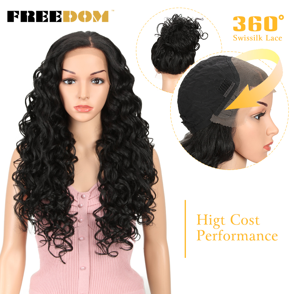 FREEDOM Synthetic Lace Front Wig 26Inch Easy 360 Lace Wig Ponytail Blonde Heat Resistant Suitable Hair Wig High Cost Performance