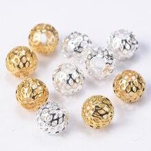 Ouro chapeado cor redonda oco gaze metal latão 8mm 10mm solta espaçador contas lote para fazer jóias diy artesanato