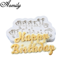 Aomily 3D Happy Birthday Brand Fondant Silicone Mold Candle Sugar Craft Tool Chocolate Cake Mould DIY Baking Decorating Tools