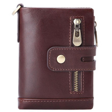 Western Genuine Leather Detachable Many Card Holder Men Wallet Vintage Cow Zipper Coin Purse